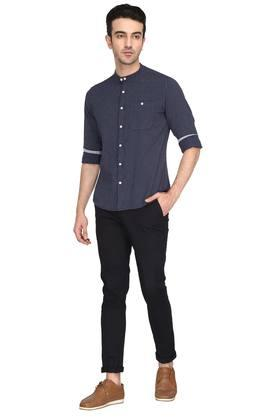 Mens Band Collar Stripe Shirt