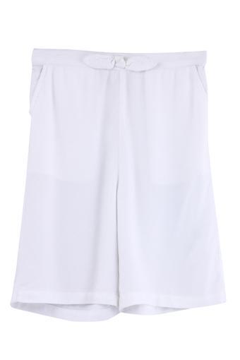 Girls Regular Fit 2 Pocket Solid Capris