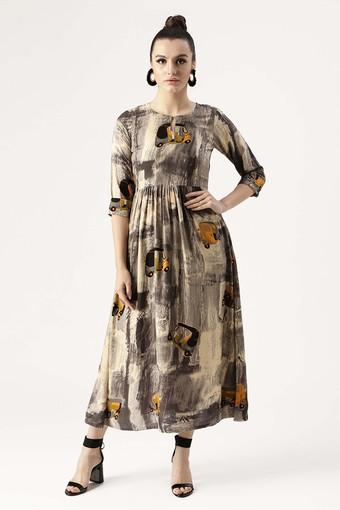 Womens Key Hole Neck Graphic Print Flared Dress