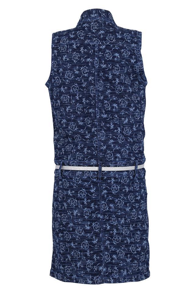 Girls Floral Print Shirt Dress with Belt