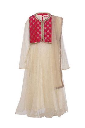 Girls Notched Collar Embellished Churidar Suit with Jacket