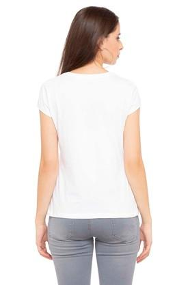 Womens Round Neck Graphic Print T-shirt