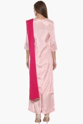 Womens Key Hole Neck Solid Palazzo Suit