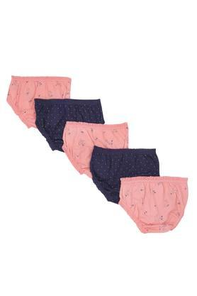 Girls Printed and Dot Pattern Briefs - Pack Of 5