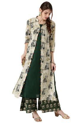 LIBASWomens Cotton Printed A-line Kurta With Long Jacket