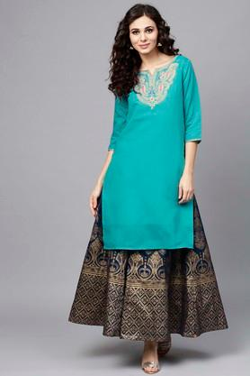 Womens Notched Collar Embroidered Kurta and Printed Skirt Set