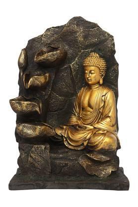 Buddha Fountain with Yellow Lights