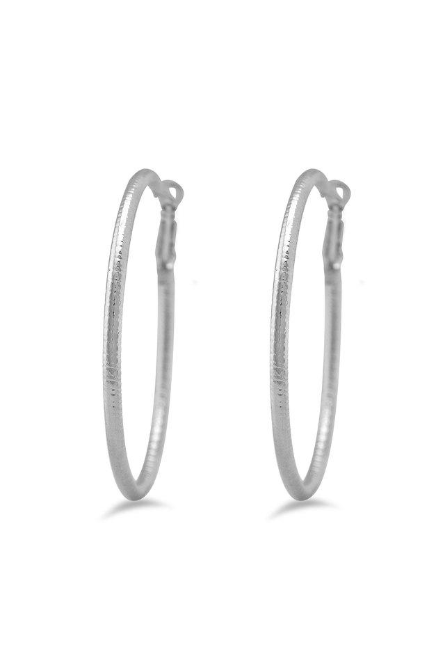 Womens Silver Plated Hoop Earrings
