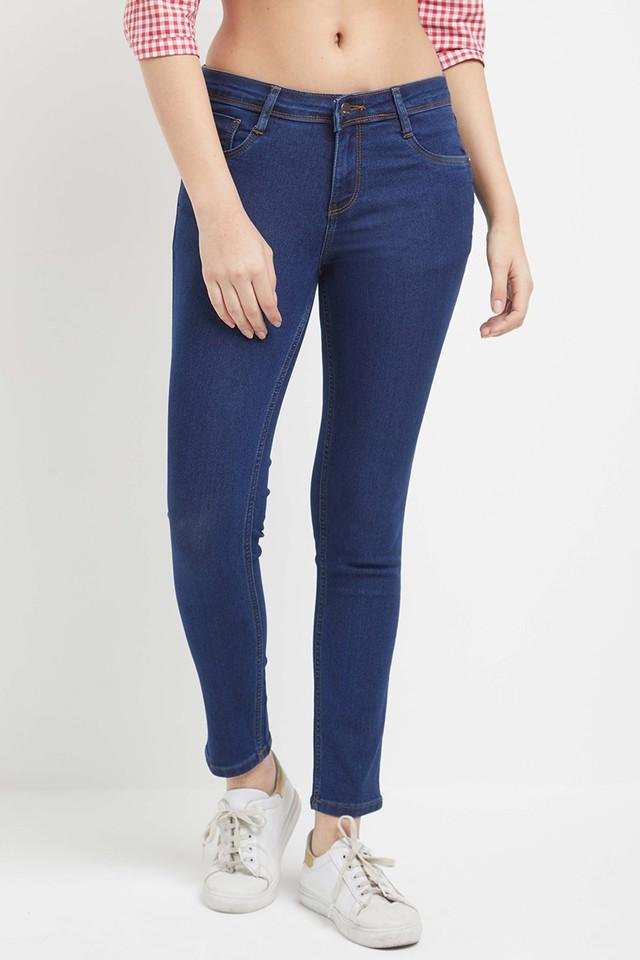 Womens 5 Pockets Coated Jeans