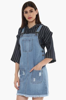 Womens Square Neck Distressed Pinafore Dress