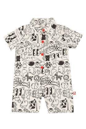 Unisex Collared Printed Bodysuit