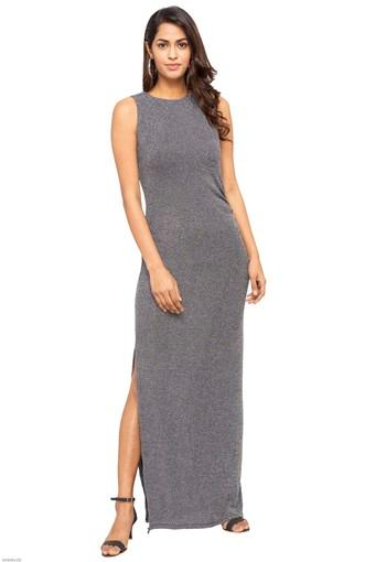 Womens Round Neck Shimmer Maxi Dress