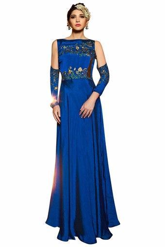 Buy Vritika Womens Premium Silk Slub Satin Readymade Gown