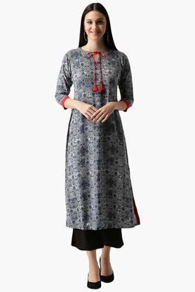 LIBASWomens Rayon Printed A-Line Kurta With Pockets