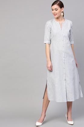 Womens Mandarin Collar Striped A Line Maxi Dress