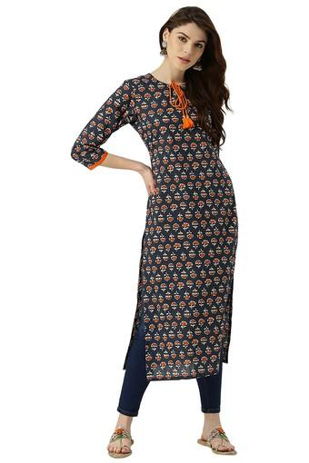 Womens Cotton Printed Straight Kurta