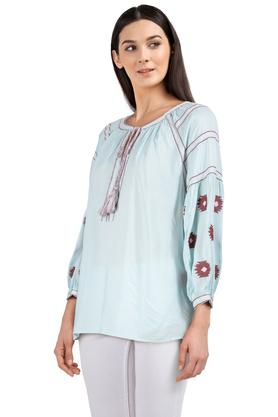 Womens Tie Up Neck Embroidered Tunic