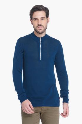JACK AND JONESMens Zip Through Solid Sweatshirt