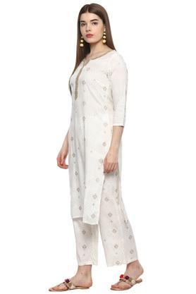 Womens Notched Collar Printed Kurta Pants and Set