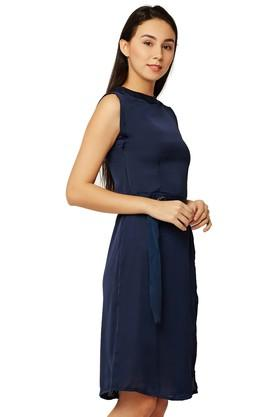 Womens Band Neck Solid A-Line Dress with Belt