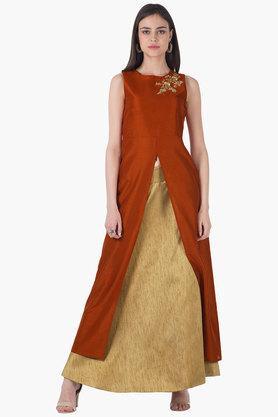 INDYAWomens Round Neck Embroidered Front Slit Kurta - 203316735