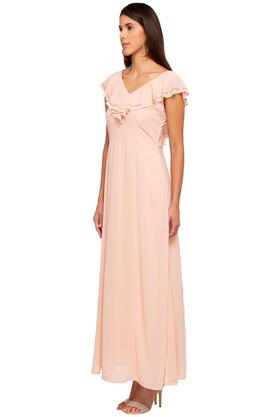 Womens V Neck Solid Gown