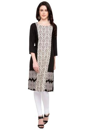 FUSION BEATS Womens Round Neck Printed Kurta - 204228298_9212