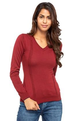 FRATINI WOMAN Womens V-Neck Solid Sweater