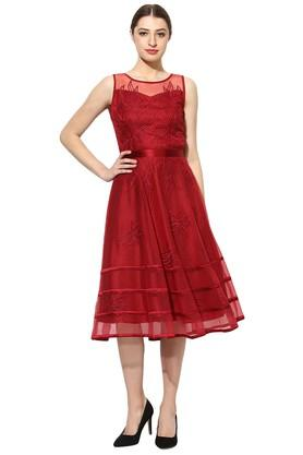 Womens Round Neck Embroidered Flared Dress