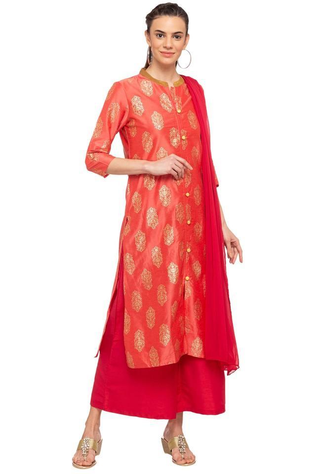 Womens Mandarin Neck Printed Palazzo Suit