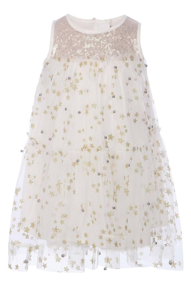 Girls Round Neck Sequined A-Line Dress