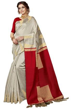 DEMARCAWomens Colour Block Woven Saree With Blouse Piece - 204771972_9200