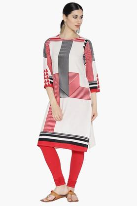 ARAH Women Round Neck Placement Print Cotton Kurta