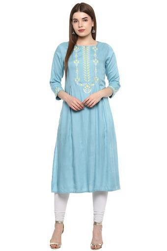 Womens Key Hole Neck Embroidered Kurta