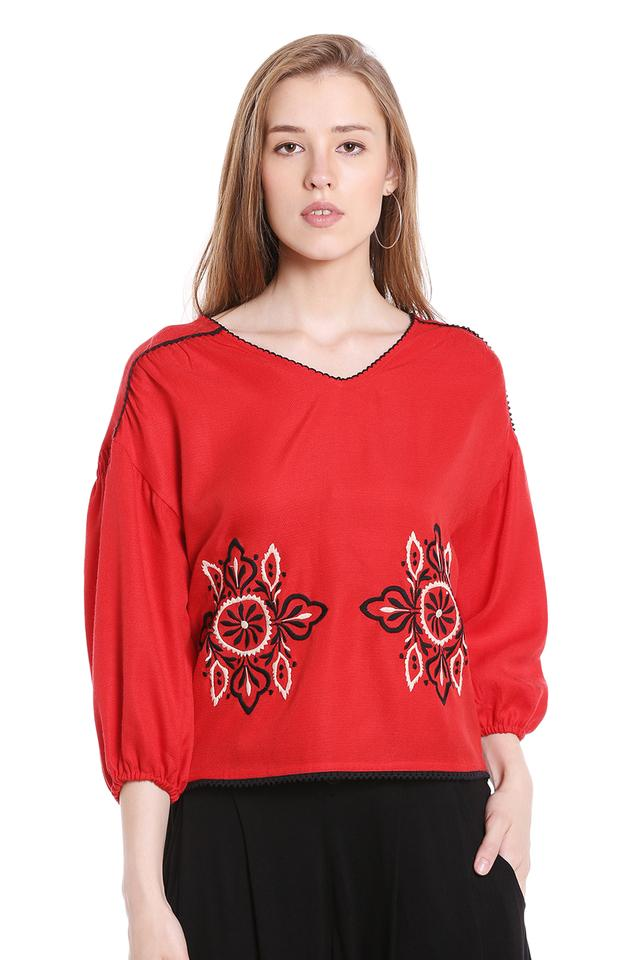 Womens V-Neck Embroidered Top