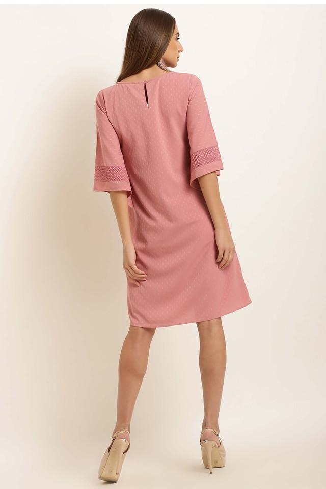 Womens Round Neck Self Patten Shift Dress