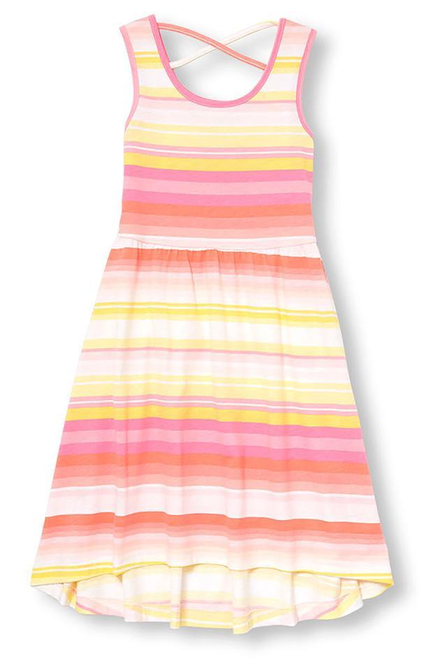 Girls Round Neck Striped Dress