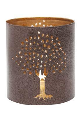 IVY Cylindrical Metallic Tree Tea-Light Candle Holder
