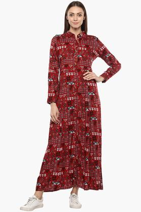 Womens Collared Printed Maxi Dress
