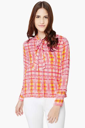 Womens Bow Abstract Printed Shirt