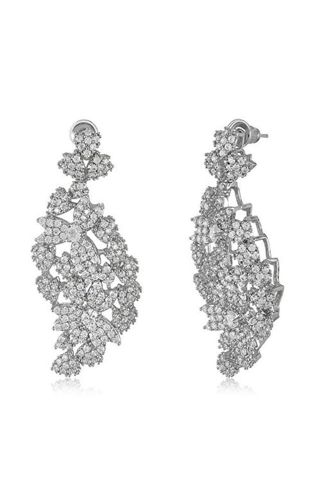 Womens Zirconia Studded Drop Earrings
