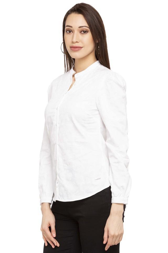 Womens Band Collar Printed Casual Shirt