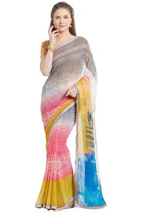Womens Abstract Print Georgette Saree
