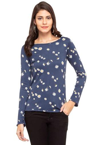 Womens Boat Neck Printed Top