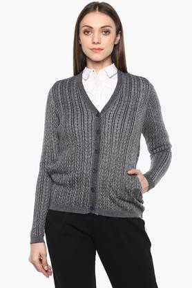 APSLEY Womens V Neck Slub Cardigan - 204849878_9204