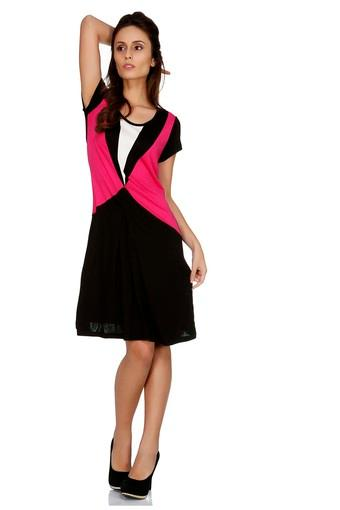 Womens Round Neck Colour Block A-Line Dress