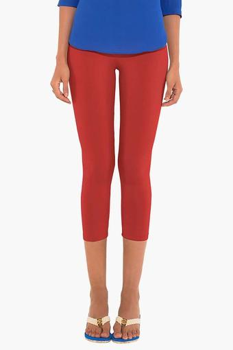 Womens Mid Rise Solid Capris