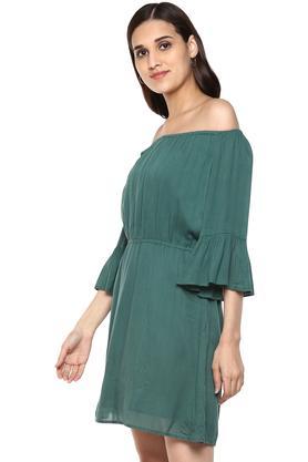 Womens Off Shoulder Solid Drop Waist Dress