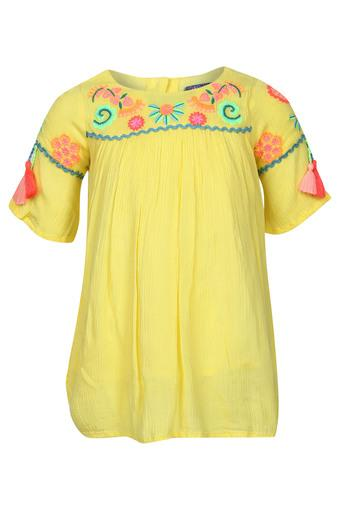 Girls Round Neck Embroidered Knee Length Dress