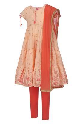 Girls Notched Collar Printed Churidar Suit